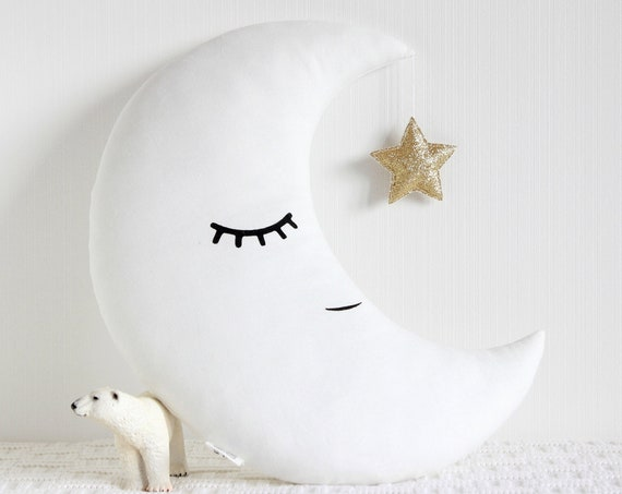 Crescent moon cushion with a glitter star, Baby pillow