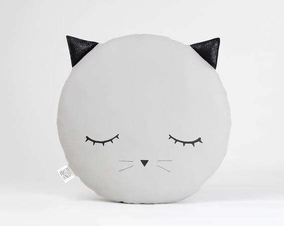Sleepy Eyes Cat Plush Pillow, Nursery Decor
