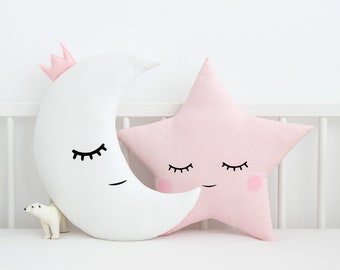 Baby Girl Nursery Pillows Moon and Star, White And Pink Children's Cushions, Toddler Girl Bedroom Accessories, Kids Throw Pillows, Baby Gift