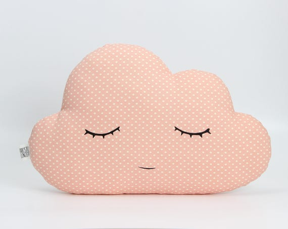 Cloud Pillow - Peach Pink Polka Dot - Baby Blue Polka Dot, Sleeping Cloud, Smiling Cloud, Cloud Cushions, Nursery Decor, Christmas Gifts.