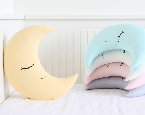 Crescent Moon Cushion With Glitter Crown, Nursery Decor Pillow