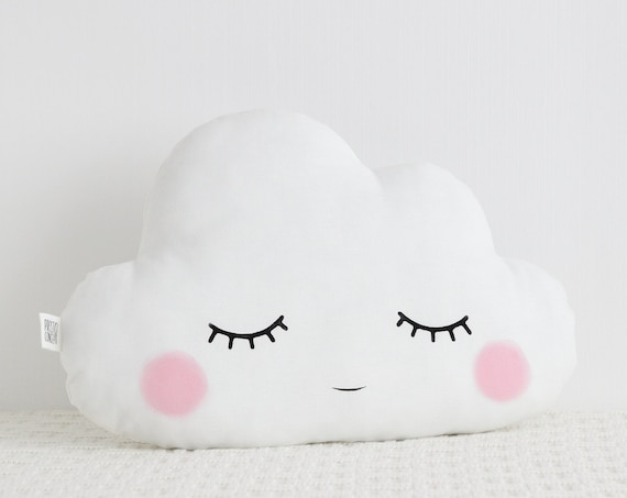 Sleepy eyes cloud cushion, Nursery Decor, Baby Pillow