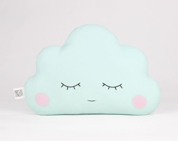 Mint baby cloud pillow, cloud cushion, baby gift, kids cushion, kids throw pillow, personalized baby pillow, name pillow, custom pillow.