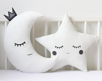 Black And White Nursery Decor Moon Star Pillows Crescent Moon Cushion Star  Cushion Kids Room Decor Baby Gift Twinkle Twinkle Little Star