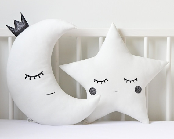 Black And White Baby Pillow Set - Crescent Moon And Star Cushions