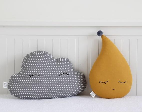 Gray Cloud And Mustard Raindrop Cushions