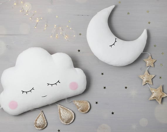 Cloud Mobile, Moon mobile, baby mobile, nursery decor, cloud pillow, moon pillow, cloud with drops, cloud wall hanging, moon wall hanging.