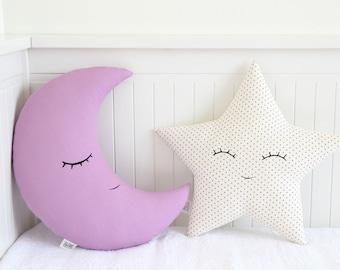 Purple Pillow Set   Moon And Star Pillows Baby Girl Nursery Decor Star  Cushion Moon Cushion Star Nursery Kids Pillows Baby Shower Gifts Idea