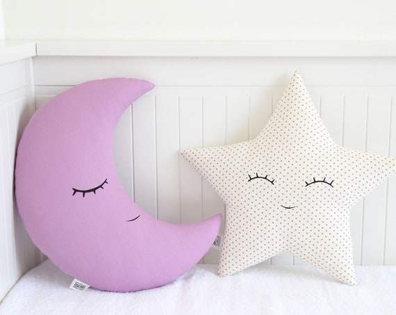 Purple baby pillow set - crescent moon and star cushions cushions