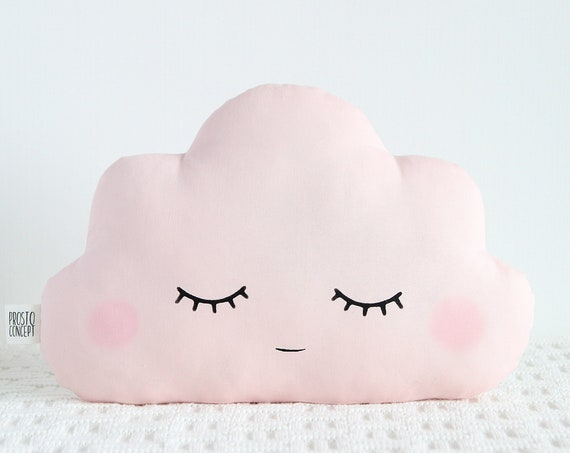 Rose cloud cushion, Pale pink cloud pillow, Baby girl nursery decor, personalized baby gift, kids room cushion, baby shower unique gift