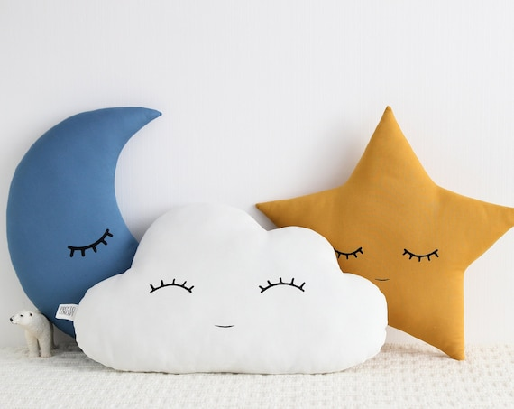Set Of Cloud, Moon And Star Pillows