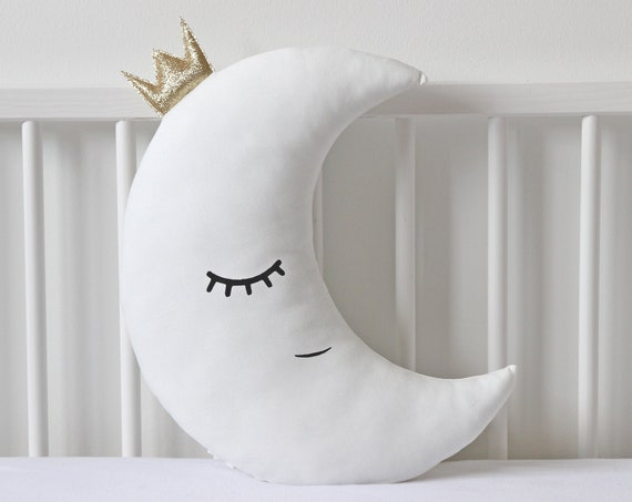 Crescent Moon Pillow Moon Cushion Kids Pillow White Nursery Decor Baby Gift Baby Shower Gift Kids Room Decor Baby Pillow Moon Stuffed