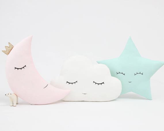 Nursery Decor Pillows, Set of cloud, star and moon cushions.