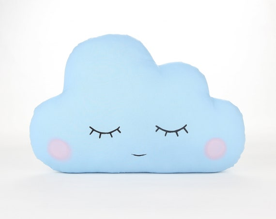 Baby Cloud Pillow, Little Baby Blue Cloud Pillow, Baby Blue Cloud Cushion, Kawaii Cloud Pillow, Sleeping Cloud With Cheeks.