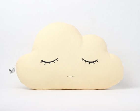 Yellow Cloud Cushion, Baby Pillow, Nursery Decor