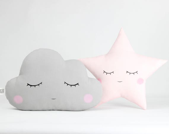 Set of cloud and star pillows, gray cloud with cheeks and pale pink star with cheeks, sleeping cloud cushion and sleeping star cushion