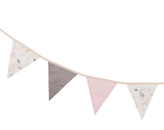 Flag Banner, Fabric Pennant Banner, Flag Bunting, Fabric Flag Garland, Baby Room Decor, Birthday Party Decor, Baby Crib Decor, Nursery Decor
