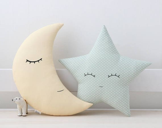 Set of moon and star pillows - pale yellow and green mint, children's pillows, kids room decor, kids pillows, baby bedding.