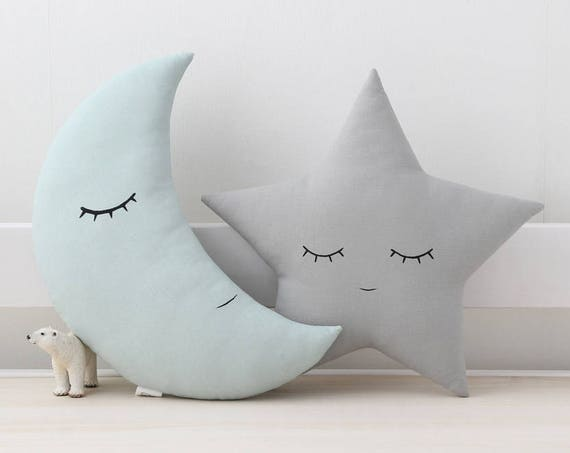 Dusty blue mint moon and gray star cushions, baby boy nursery decor