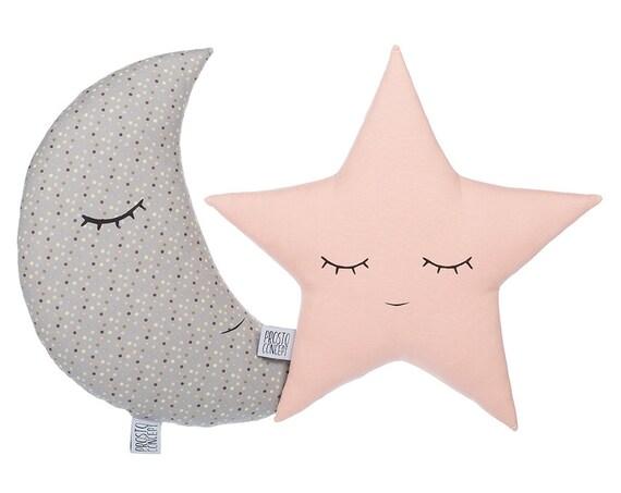 Set of moon and star pillows, light pink and gray pillows, children's pillows, kids room decor, kids pillows, baby bedding.