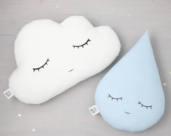 Сloud pillow and rain drop pillow, cloud cushion, rain drop cushion baby boy nursery decor baby shower gift kids pillows blue baby pillow