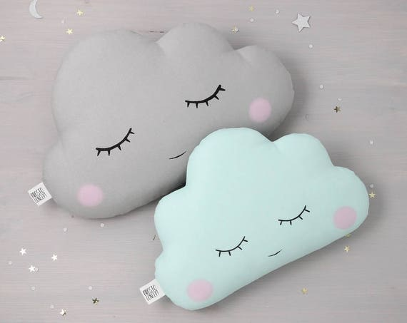 Set of two sleepy eyes pillows - pink / mint / white with gray clouds, nursery decor, baby cushions