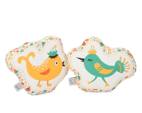 Set Of Two Bird Pillows, Bird Cushion, Animal Pillow, Kids Pillows, Child Pillow, Forest Decor, Bird Plush Toy.