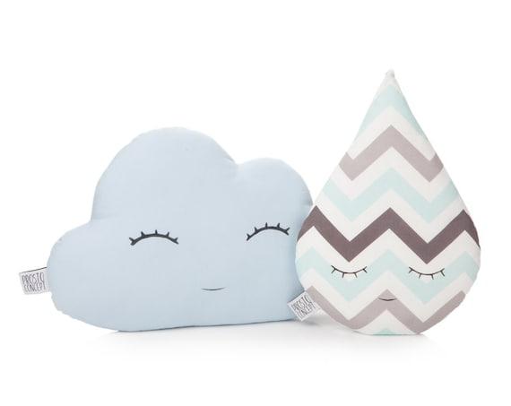 Set of cloud and rain drop pillows - light blue and gray / blue chevron , cloud cushion, rain drop cushion, cloud plush toy.