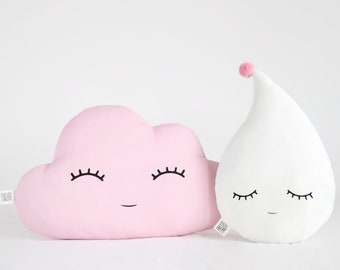 Cloud Shaped Pillow And Pompom Raindrop Pillow For Baby Girl Nursery,  Cushion Cloud Kids Throw Pillow, Childrenu0027s Pillow