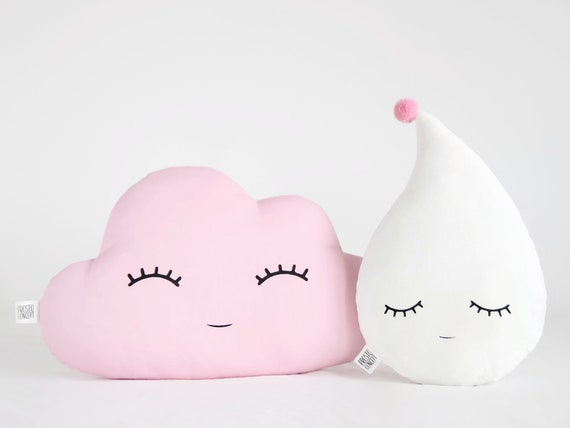 Pink Cloud And White Raindrop Cushions