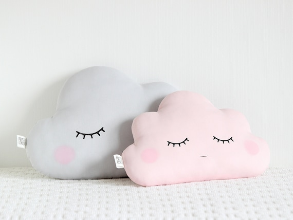 Light Gray / Pale Pink / White cloud pillows - Cushions Set for girl room