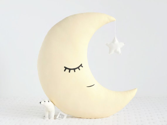 Yellow Moon Pillow / Yellow Nursery Decor Moon Cushion / Kids Room Decor / twinkle twinkle little star baby shower gift / baby girl baby boy
