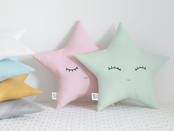 Mint Star Cushion, Kids Pillow, Nursery Decor