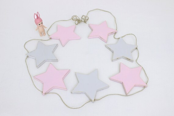 Star Garland, Pink and Gray Star Bunting, Baby Bunting, Wooden Star Garland, Kids Room Decor, Nursery Decor
