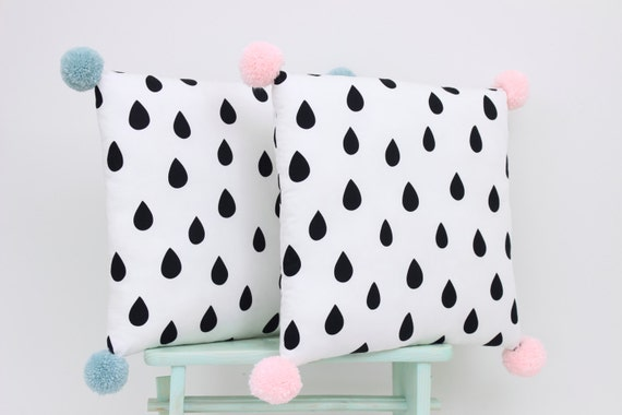 Decorative pillow with Pom Poms, monochrome kids pillows, nursery decor, baby bedding, Rain Drop Pillow, children pillow.