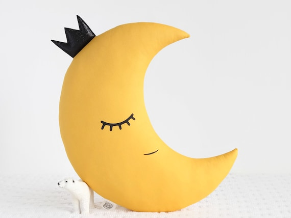 Yellow Mustard Crescent Moon Pillow With Crown Moon Cushion Kids Pillow mustard Nursery Decor Baby Pillow kids room decor baby shower gift