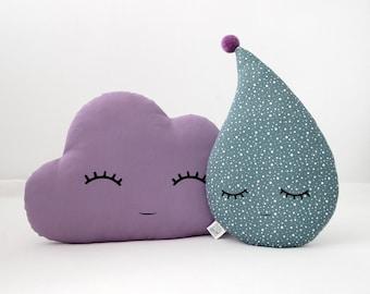 Baby girl room accessories, Nursery decor pillows - Cloud and Drop, Purple kids pillow, Children teepee cushions