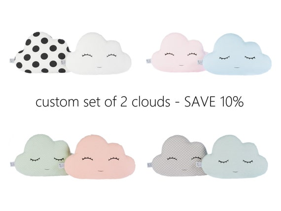 Custom Set Of Two Cloud Pillows, Cloud Cushions - 12 Colors - Light Coral, Yellow, Mint, Gray, White. Save 10% Off Price.