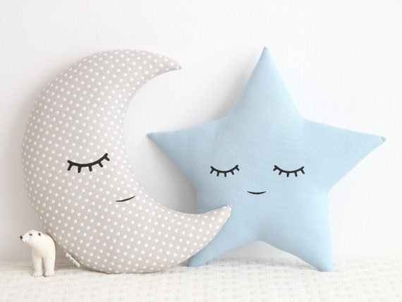 Sky Blue Star and Light Gray Crescent Moon Cushions, Baby Pillows