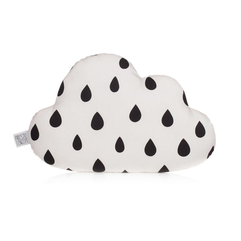 Cloud Pillow Cloud Cushion With Black Drops Kids Pillow image 1