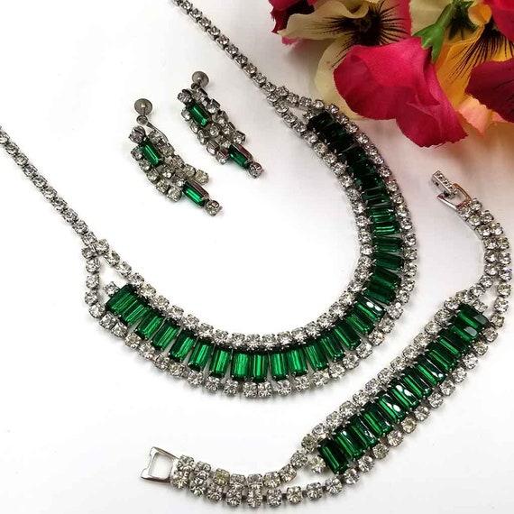 Vintage Emerald Green Rhinestone Parure