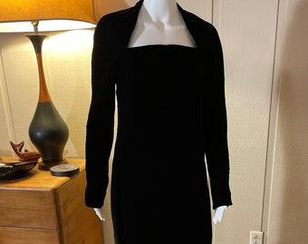 Beautiful Vintage 1970s Halston Black Velvet Sheath Cocktail Dress Authentic Designer Union Tags Small