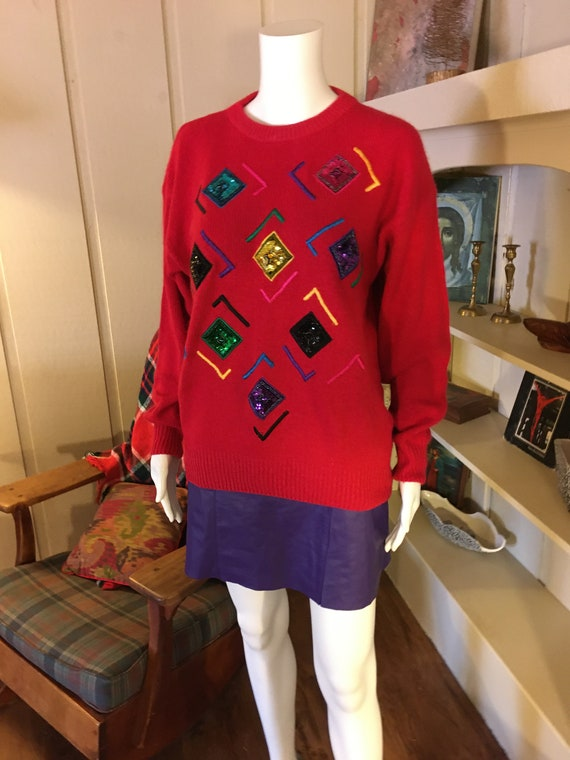 Vintage Festive Holiday Sweater by Santoria 90s Re