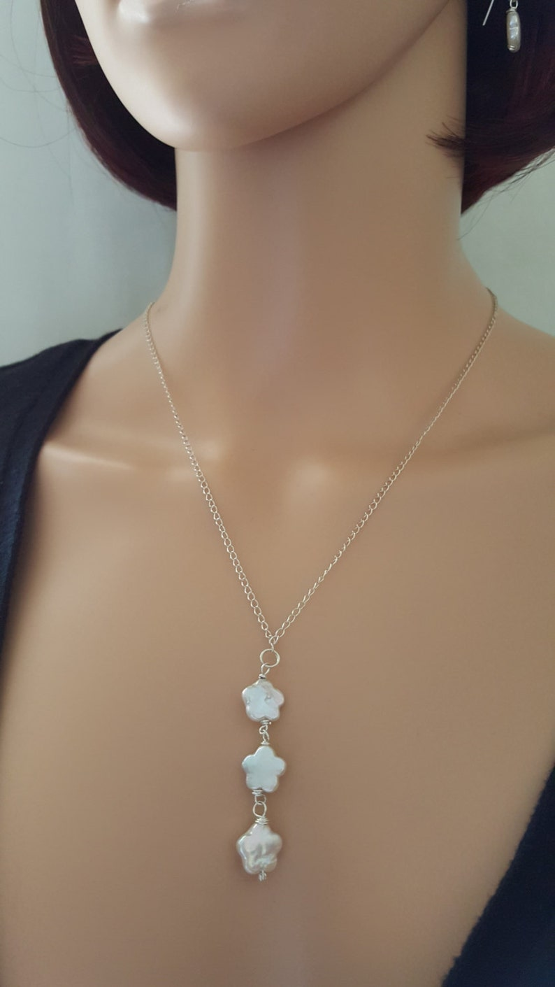 Freshwater Pearl Necklace Sterling Silver Flower Pearl Dangle Drop Pendant Wedding Jewelry Brides Bridesmaids Necklace Minimalist lgbstyles