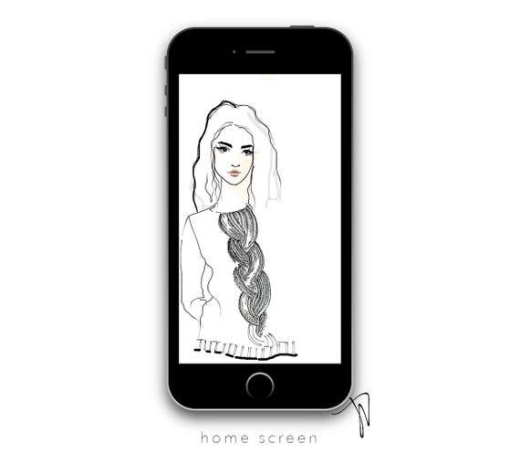Sweater Girl Minimal Iphone Wallpaper Fashion Illustration Etsy