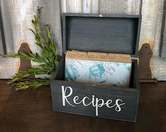 Recipe Box, Aqua, Farmhouse, Vintage, Rustic, Recipe Dividers