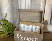 Recipe Box, Herbs, Vintage, Rustic, Recipe Dividers, Farmhouse