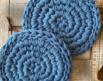 Potholder Farmhouse Potholder Chrocheted Trivet Farmhouse Trivet Hanging Trivet Teal Trivet