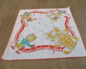 57b80ec570ae5 Vintage handkerchief with owl elephant monkey Senator owl made a speech and  Eddy sang a song Micky Monk a party gave it was lout and long