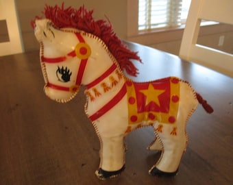 Old vintage circus pony vinyl stuffed child's toy.  1950's piece with mane and tail and special stiching.